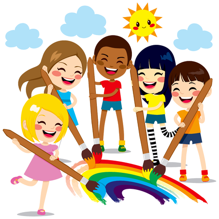 Five cute little kids painting together a beautiful colorful rainbow with paint colors and brushes
