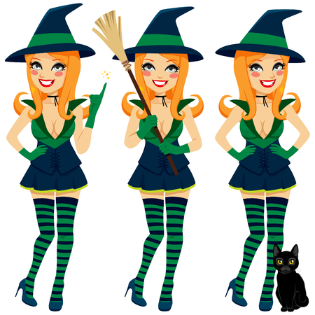 Beautiful sexy red haired witch making different poses holding broom and with pet cat Vector