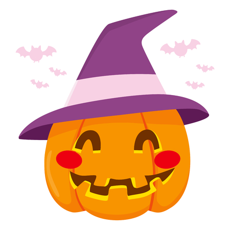 Cute happy smiling pumpkin Halloween decoration with big purple witch hat Vector