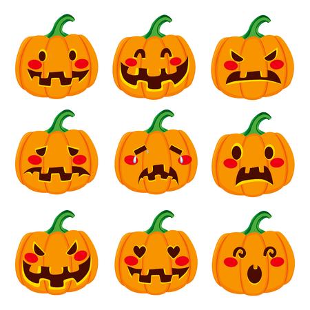 face expressions: Linda decoraci�n de la calabaza de Halloween toma de nueve diferentes expresiones divertidas de la cara Vectores