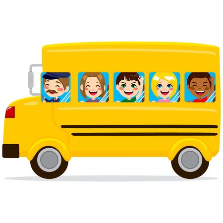 escuela: Ilustración de autobús escolar con niños felices lindos y conductor Vectores