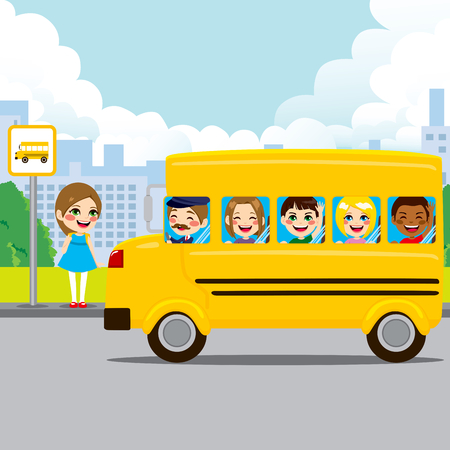 yellow schoolbus: Little girl waiting on bus stop to ride schoolbus to school Illustration