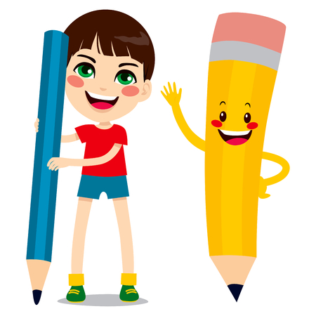 Cute little boy holding big pencil and funny pencil character friend Vector