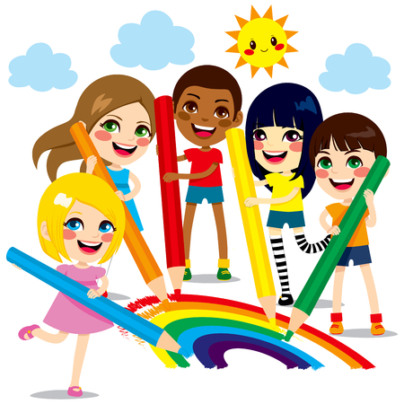 Five cute little children drawing together a beautiful colorful rainbow with color pencils Vector