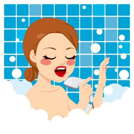 woman shower: Beautiful young woman singing on shower having a relaxing bubble foam bath