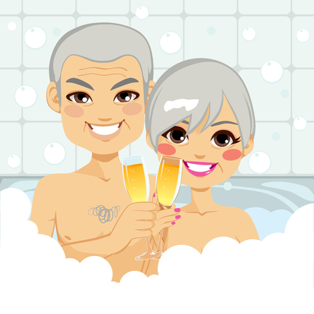 bubble bath: Cute senior couple enjoying relaxing bubble bath together making a toast with champagne