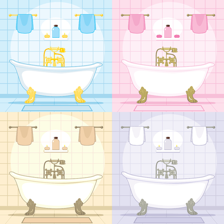 Vintage bathroom set interior with classic style bathtub in four different color themes Vector