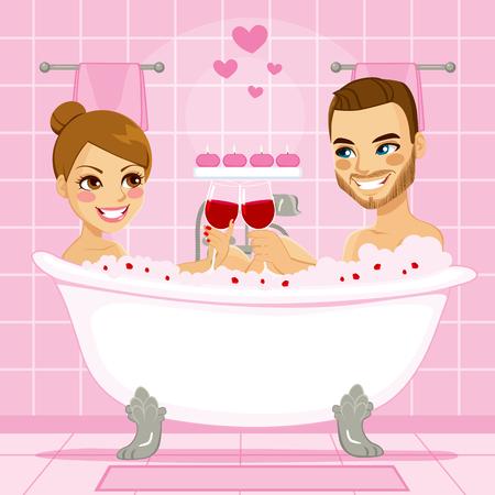 Atractiva pareja en el amor que goza de un relajante baño de burbujas de color rosa haciendo un brindis con vino tinto en la bañera Vectores