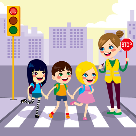 Three cute little children school students crossing street together with help from female teacher holding stop sign Vector