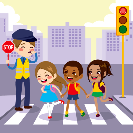 Three cute little school children students crossing street walking through pedestrian crossing with help from male cop holding stop sign