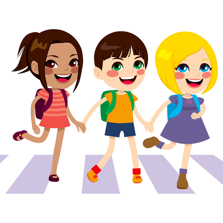Three cute happy little kids crossing street walking through pedestrian crossing together smiling holding hands Vector