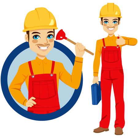 Happy smiling plumber holding plunger wearing red overall uniform holding tool box and making positive expression with thumbs up hand sign Vector