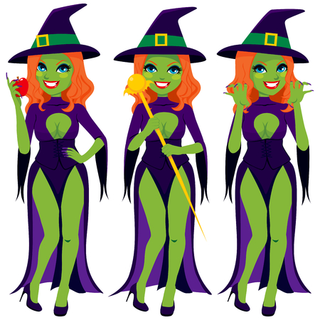dark haired woman: Sexy evil green witch in different poses with magical scepter and red apple
