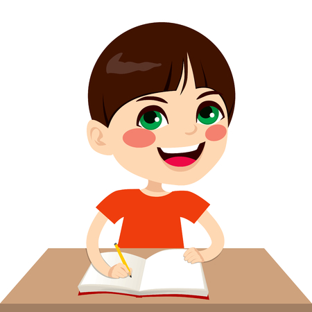 brown haired: Cute little brown haired caucasian student boy writing on notebook smiling happy Illustration