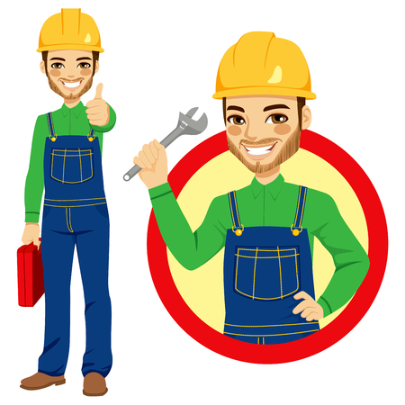 worker cartoon: Happy smiling worker holding adjustable wrench wearing blue overall uniform holding tool box and making positive thumbs up hand sign expression