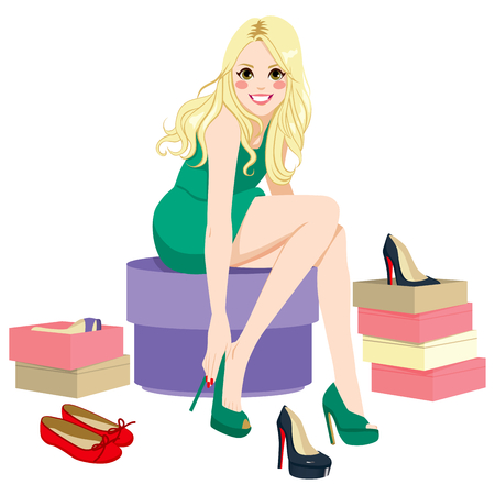 trying: Beautiful happy blonde girl trying many fashionable shoes