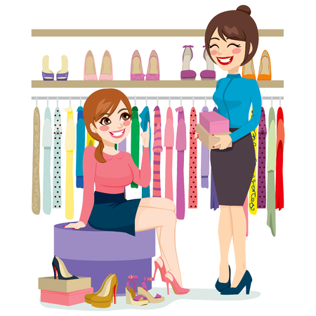 clothing store: Beautiful young woman trying and shopping different shoes with help from shoe store assistant