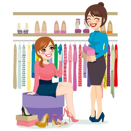 negozio: Bella giovane donna cercando e negozi scarpe diverse con l'aiuto di assistente di negozio di scarpe