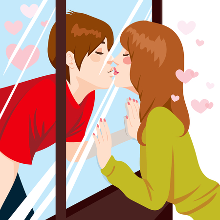 living moment: Cute young couple Kissing through glass window with love