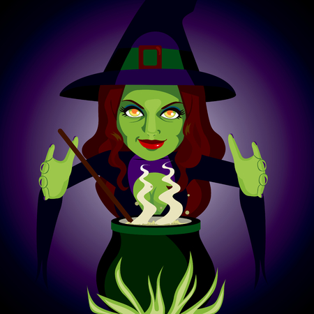 spells: Scary witch making sorcery spells and potions with her magic cauldron