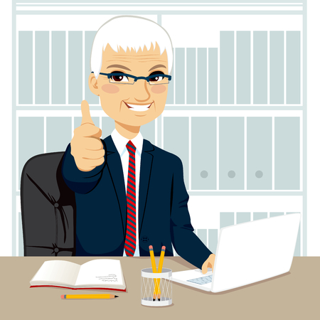 Successful senior businessman making thumbs up hand sign at his office while working typing on laptop on his desk Vector