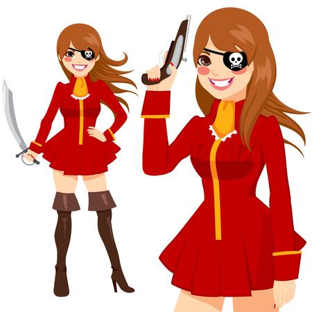 mujer pirata: Hermosa mujer morena con rojo pirata traje traje felices sonriendo armas de cartera y espada lista para la fiesta de halloween