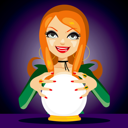 Beautiful red haired fortune teller woman reading future on magical crystal ball Ilustração