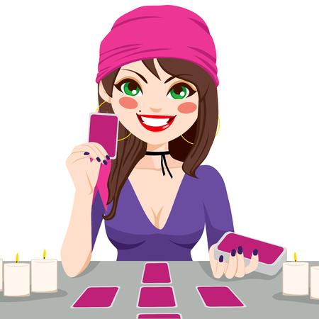 adivino: Mujer gitana futuro hermoso lectura adivino con las cartas del tarot magia Vectores