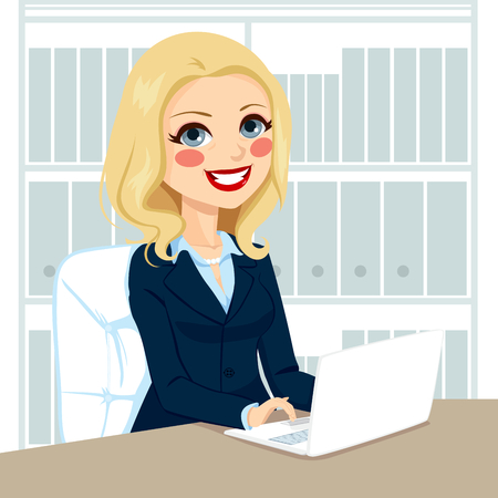 Successful senior businesswoman working typing on laptop on her desk at office Vector