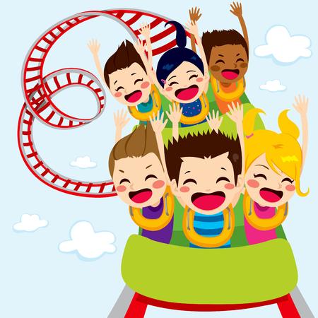 Des enfants heureux jouissent tour de montagnes russes en hurlant et en s'amusant