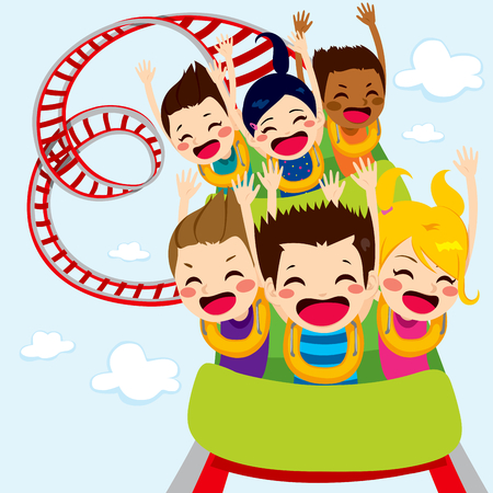 coaster: Happy children enjoy roller coaster ride screaming and having fun