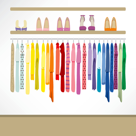 Fashion shop background with clothing on hangers, shirts, dresses and shoes
