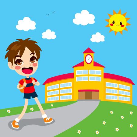 niños saliendo de la escuela: El niño pequeño va feliz a la escuela en la mañana