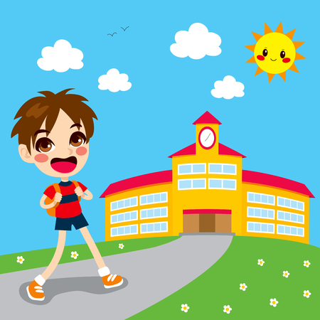 Little boy going happy back to school in the morning Vector