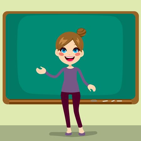 Beautiful happy young teacher woman standing teaching in front of empty blackboard in classroom Vector