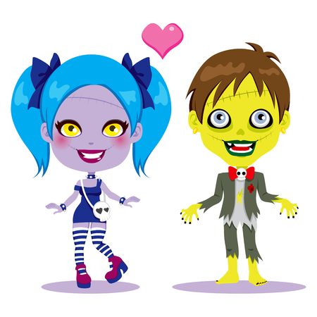 Cute zombie couple in love together ready to celebrate Halloween party Illustration