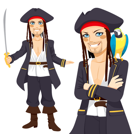 Young attractive male pirate with sword and funny parrot on shoulder Vector
