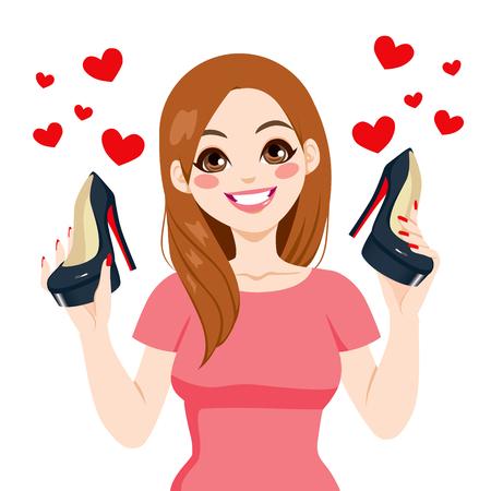 Bela jovem segurando preto de salto alto sapatos de sorriso feliz com corações do amor Ilustração