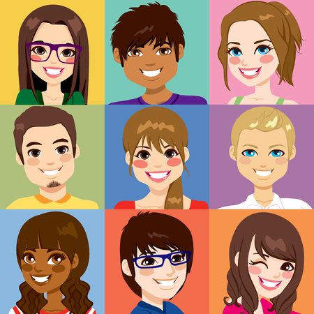 grupo de pessoas: Nove diversos jovens enfrentam retratos de diferentes etnias