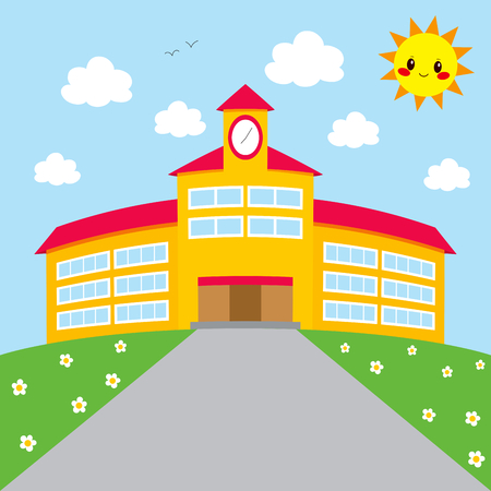 morning walk: Background illustration of cute school building with happy sun smiling, Back to School concept