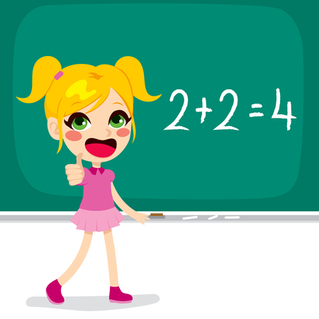 sum: Cute little blonde school girl making thumbs up hand sign celebrating solving mathematics sum calculation