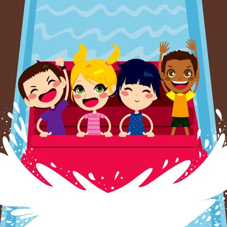 rollercoaster: Four happy kids enjoying a water boat ride on amusement park