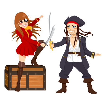 coffer: Two brave pirates, one male and one female, fighting with swords over treasure chest