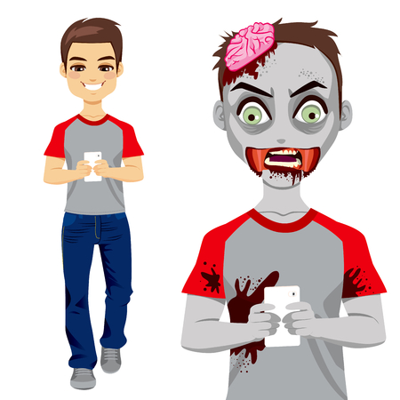 cell phone addiction: Man walking and texting with smartphone and turning into a zombie
