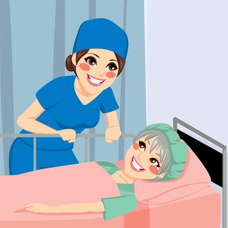 Mooie verpleegster praten met oude senior vrouwelijke patiënt voor een operatie Stock Illustratie