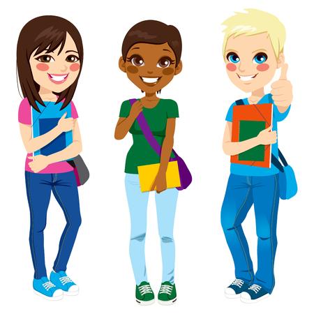 Groupe multi-ethnique de trois jeunes étudiants adolescents debout avec une expression positive prêt à retourner à l'école avec un sac à l'épaule, dossier et ordinateur portable Vecteurs
