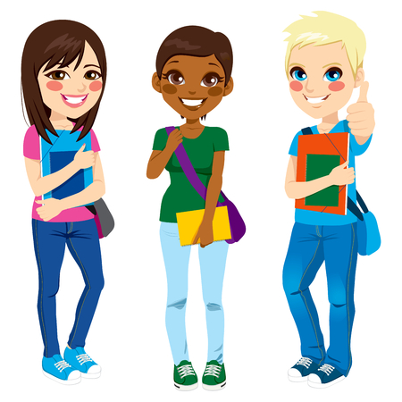 Multi ethnic group of three young teenage students standing with positive expression ready to go back to school with shoulder bag, folder and notebook Vettoriali