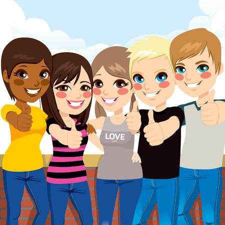 jeunes joyeux: Cinq jeunes adolescents heureux pouces debout et formant geste en face de mur et fond de ciel Illustration