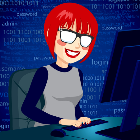 breaking the code: Hacker woman typing on computer enjoying breaking system security code with mischievous smile