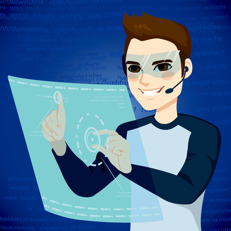 advanced technology: Young man using futuristic user interface technology selecting options on advanced touch computer virtual screen display projection Illustration